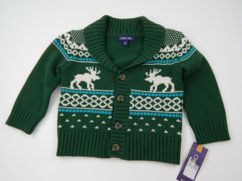 CHEROKEE 18M Boys Moose Green White Christmas Sweater Warm Winter L//S Button Up
