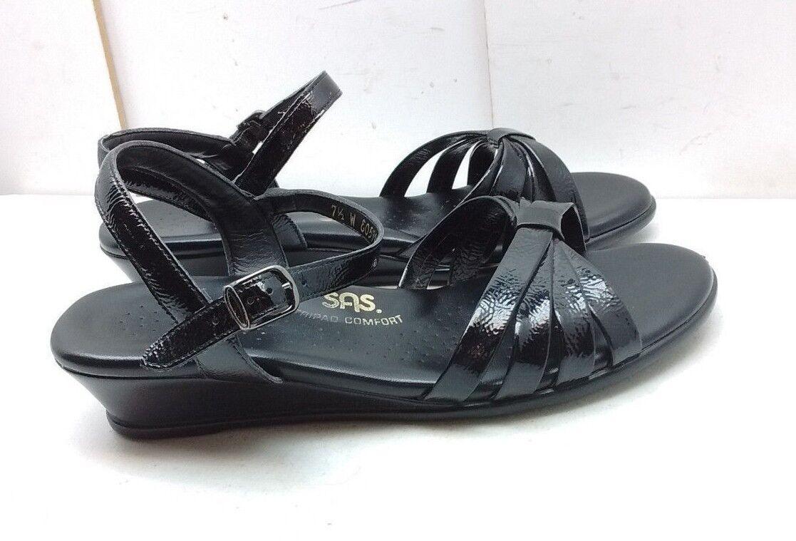 SAS Tri Pad donna Leather nero Slingback Wedge Sandal Comfort Casual scarpe 7.5W