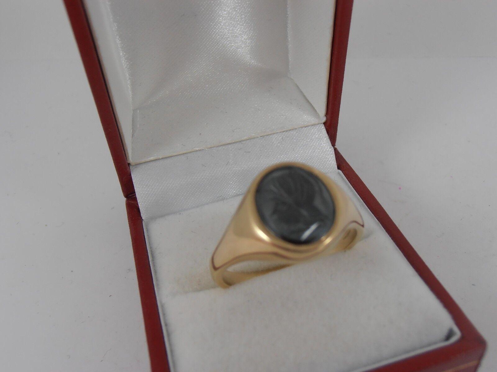 9ct YELLOW gold SIGNET RING HEMATITE INTAGLIO SIZE Y