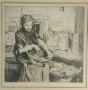 William-Lee-Hankey-Framed-Pencil-Signed-Etching-1925-039-Jeannette-of-the-Market-039