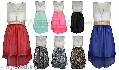 Girls Sleeveless Waist Band Asymmetrical Chiffon Dress with Gold Necklace New