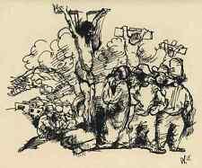 KREUZIGUNG mit PHARISÄER  Wilhelm MORGNER 1915 - Druckgraphik n.d.Zeichnung 1947