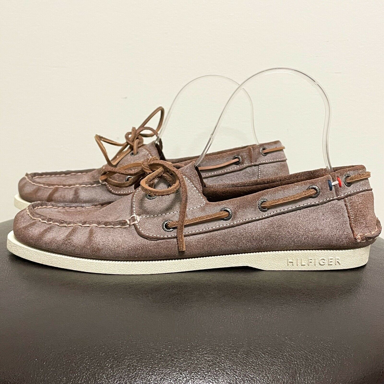 Tommy Hilfiger Brown Tollman Leather Loafers Boat Shoes 9.5 White Shading