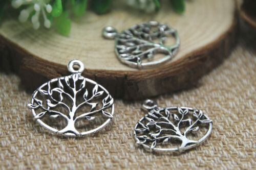 12pcs Tree Charm Tree Pendants Life Tree Charms Silver Tone Double Sided 27x23mm