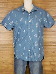 The-Rail-Blue-Cactus-Button-Front-Shirt-Mens-Size-Medium-M