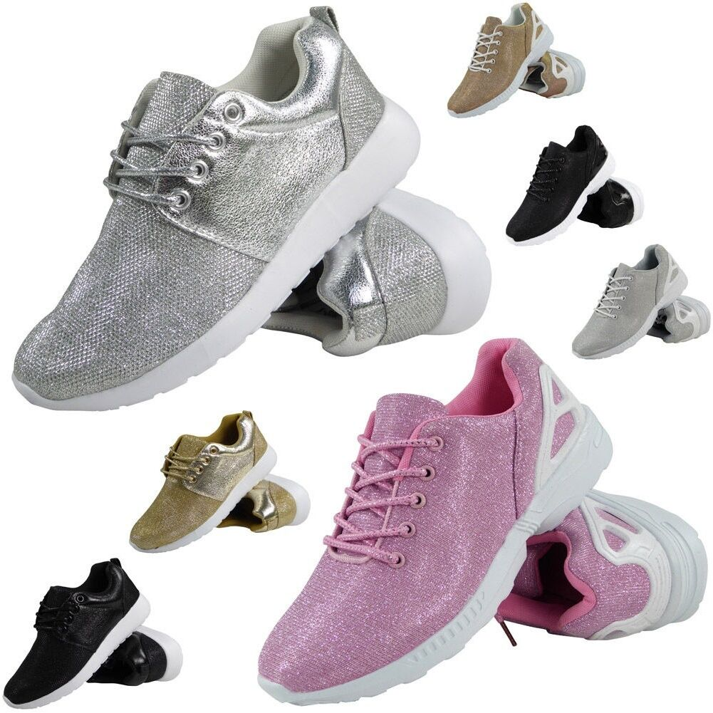 Vente! femme running baskets paillettes femme gym sports lace up chaussures taille