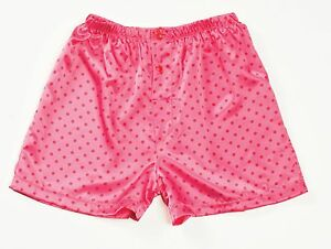Pink-Red-Polka-Dots-Charmeuse-Button-Fly-Boxer-Short-S-or-M-Gyz-by-Shirley-20298