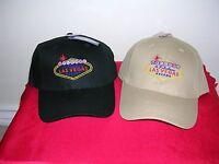 Las Vegas Sign Hat Cap Lid Adjustable Strap Black Brown