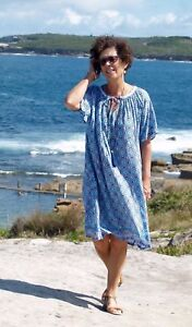 5c9ca341a0 Image is loading NWT-Plus-Size-DRESS-Blue-Santorini-print-Sizes-