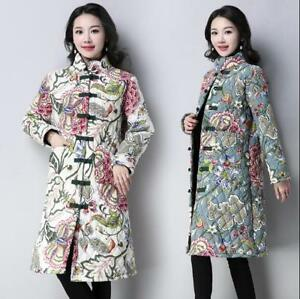 polstret Coat Winter Fit kinesiske Outwear Bomuld Kvinders V Slim Floral stil Jackets qfxtYFw4