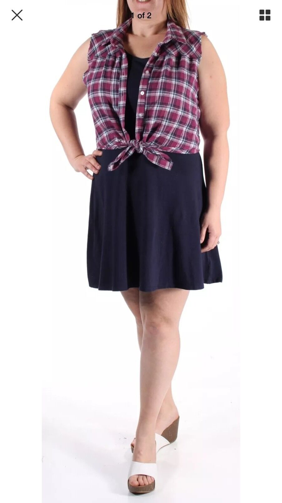 EMERALD SUNDAE  Navy Includes Plaid Shirt A-Line Dress Medium