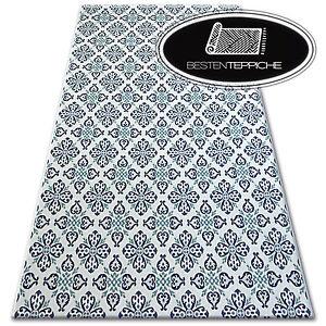 Moderne Sisal Teppich Color Weiss Blau Flach Webart Blumen Einfach