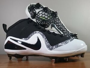 Nike Force Zoom Trout 4 Mid Metal Baseball Cleats Black White 917837 ... 337917e9b