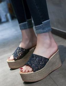 Chaussures femme Sandales Compensées Plateforme Pantoufles Bling Bling Paillettes Bout Ouvert Chaussures US Taille