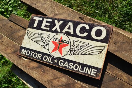 Texaco Winged Logo Tin Metal Sign Gas The Texas Company Motor Oil Gasoline