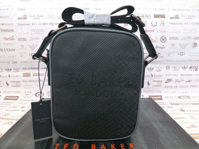 7dcb1ab9c7b1 TED BAKER Mini Flight Bag HELIOX Black Embossed Textured Shoulder Body Bags  BNWT