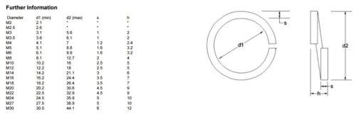 RONDELLE élastique Carré Section A2 En Acier Inoxydable-DIN7980 Métrique SQ Rondelles