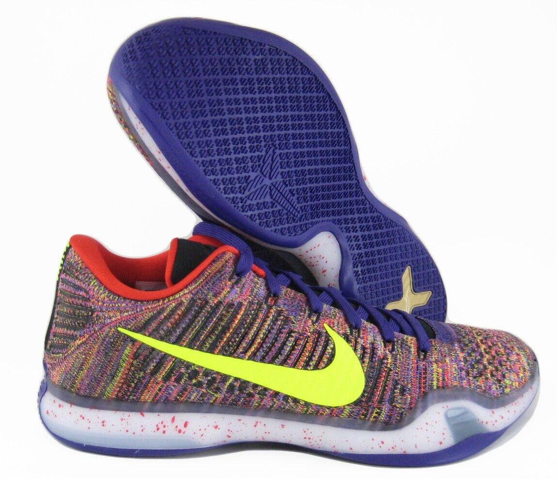Nike Kobe 10 x Elite Low iD Purple SZ 12 802817-903 CHAOS FLYKNIT MULTICOLOR