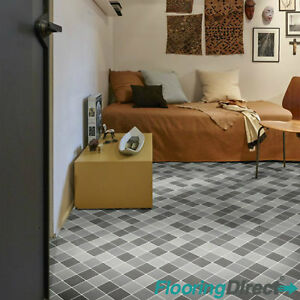 Grey Black Tile Quality Non Slip Vinyl Flooring Lino ...