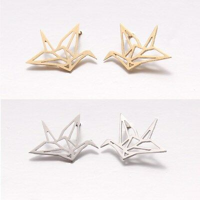 Dainty Hand Touch Textured Paper Origami Crane Stud Earrings Silver Post Back