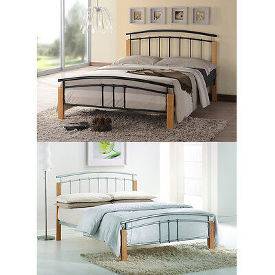 Tetras 3ft Single 4ft6 Double 5ft King Size Modern Metal Bed Frame Black Silver