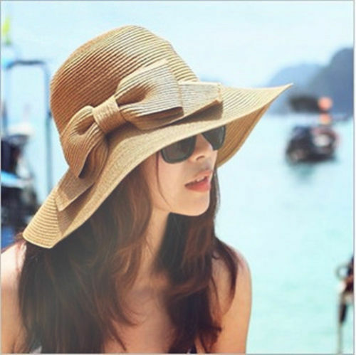 2015 Women Folding Summer Beach Cap Wide Brim Bowknot Floppy Straw Sun Hat Khaki