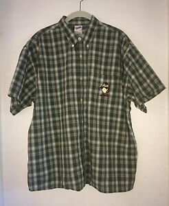 Taz-Mens-Large-L-Shirt-Warner-Bros-Tasmanian-Devil-Camp-Plaid-Green-Blue-Brown