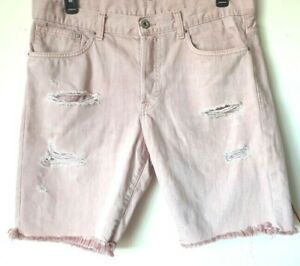 HM-Mens-Denim-Shorts-36-Lite-Pink-Knee-Button-Fly-Distressed-Frayed-Jeans-VGUC