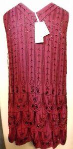 EAST-ARTISAN-Embellished-BURGUNDY-RED-V-NECK-FULLY-BEADED-DRESS-Size-14