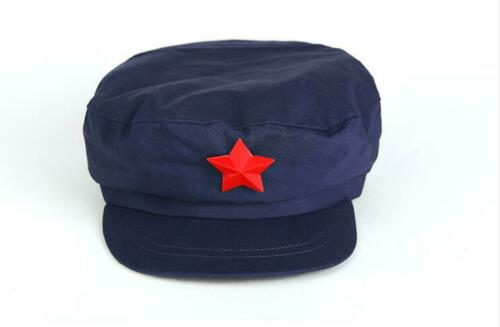 Chinese Military Soldier PLA Type 65 Blue Hat Retro Worker Mao Cap With Red Star