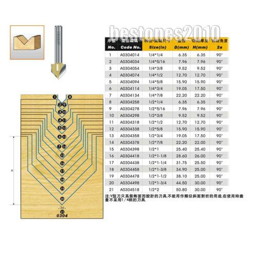 """ARDEN 90 Degree V-Groove Router Bit 1//2*2/"""" Straight V Slotting Cutter 1//2×2/"""" bit"""