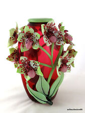 "Andrea Marcus Ruby ""Lady Slipper Orchid"" Studio Art Glass Vase - Signed & Dated"