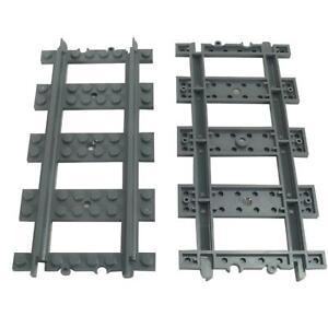 Straight Parts Lot of 4 Lego Dark Bluish Gray Train Track Plastic RC Trains