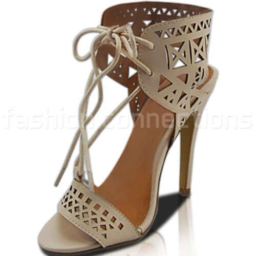 NEW WOMENS LADIES HIGH HEEL STILETTO CUT OUT LACE UP ANKLE SHOES SANDALS SIZE