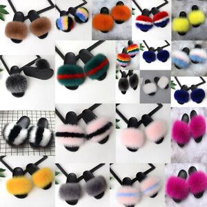 Women/'s Real Fur Flat Shoes Fluffy Flip Flops Slippers Sliders Sandals Xmas Gift