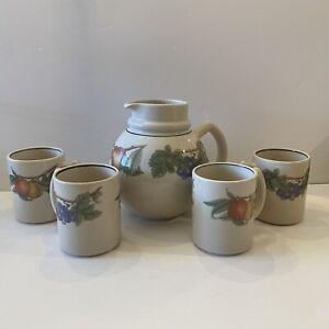 Water Pitcher / Juice Jug & 4 Mug Cups - Vintage Epoch Wholesome Farmhouse Fruit