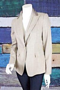 Elie-Tahari-Sz-4-Gray-Brown-Stretch-Virgin-Wool-Blend-Blazer-Jacket-Career-Work