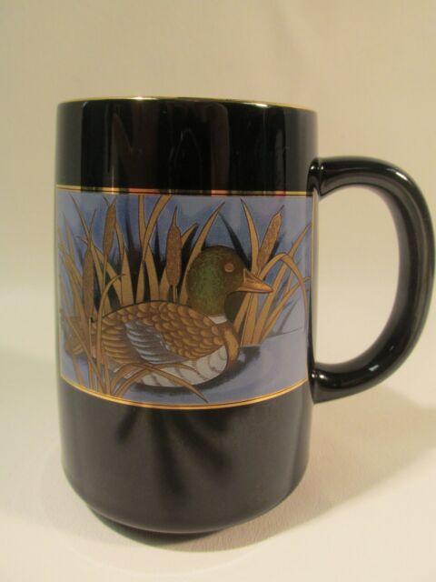Vtg. Otagiri  Coffee Mug Mallard Duck in Pond Design Black & Gold Ceramic Japan