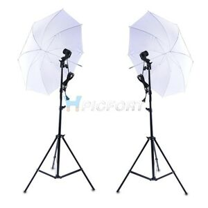 "Photo Studio Continuous Lighting Kit E27 Bulb Lamp 33"" Umbrella 2m Light Stand"