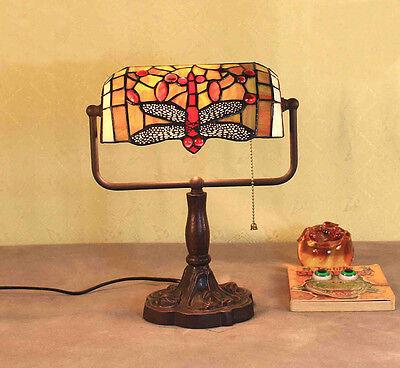 Tiffanylampe Libelle Büro Lese Tiffany Lampe Bürolampe Banker Tischlampe GN169GE