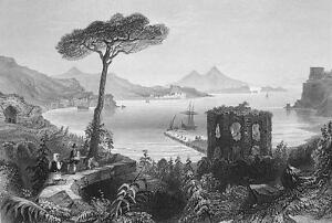 ITALY-Vesuvius-Fort-amp-Bay-of-Baiae-155-Years-Old-Antique-Print-Engraving