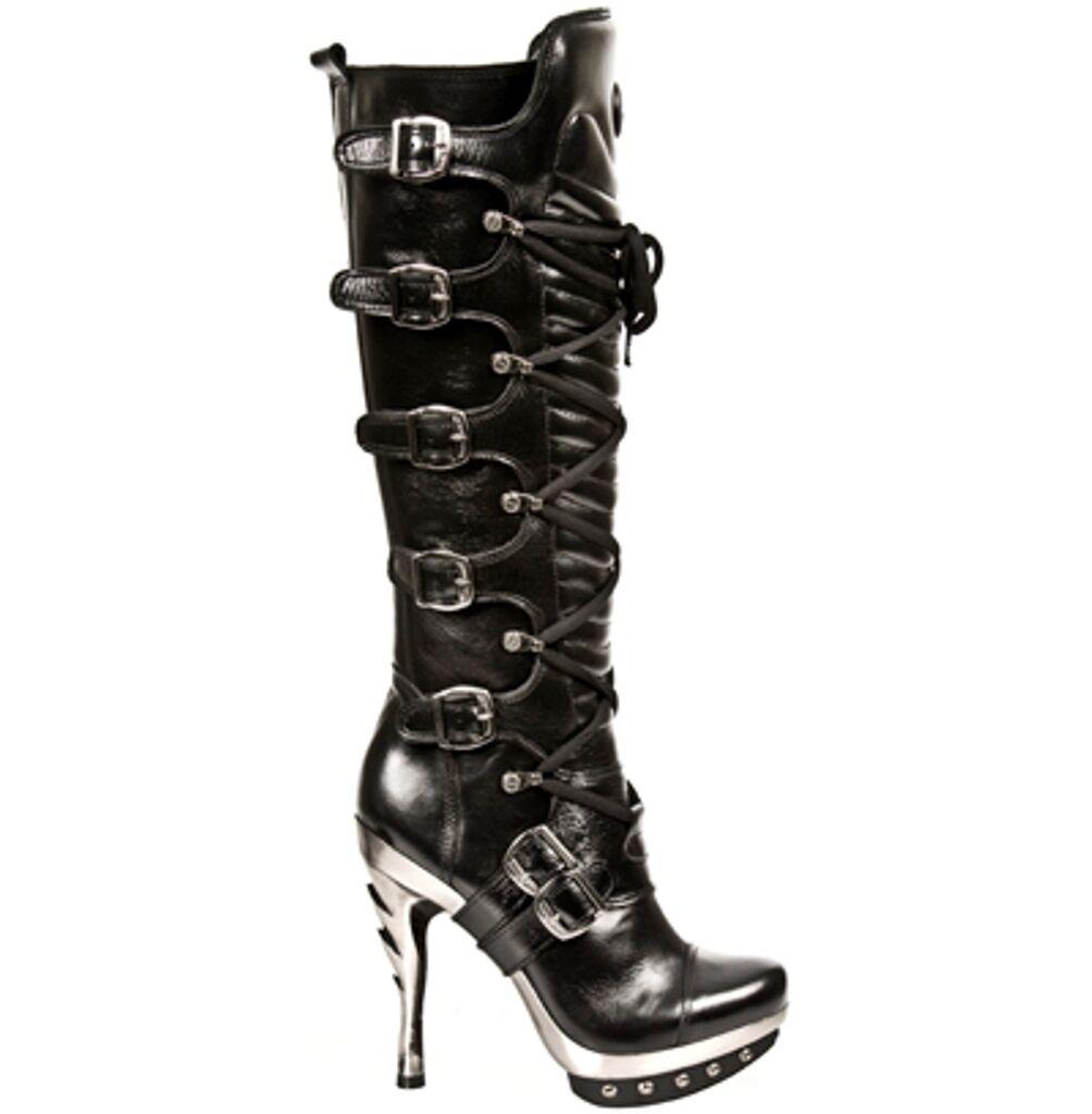 New Rock botas botas botas mujer Punk Gothic botas - Style PUNK005 S1 negro  comprar nuevo barato