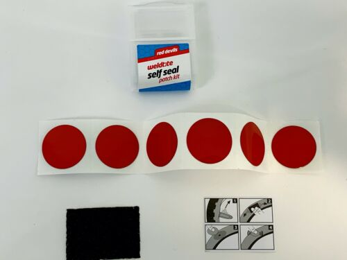 Bike Cycle-Bicycle Weldtite Red-Devil Self Seal Puncture Repair Patches Kit
