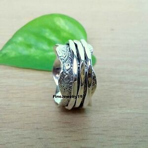 925-Sterling-Silver-Spinner-Ring-Wide-Band-Meditation-Statement-Jewelry-B12