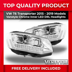 Details about VW T6 TRANSPORTER 2015-19 SILVER CHROME INNER LED DRL  HEADLIGHT REPLACEMENT UNIT