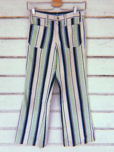 Vintage Raro 1970s Azul Verde Y Rayas En Blanco Pantalones De Campana Ebay