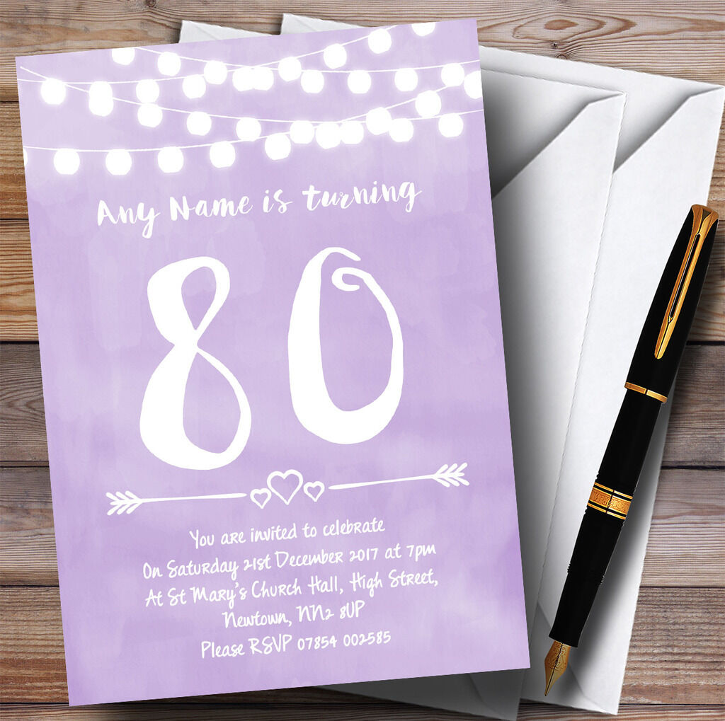 lila Lilac Lights 80th Personalised Birthday Party Invitations