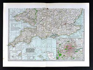 London Atlas Map.1898 Century Atlas Map South England Wales London Plan Stonehinge