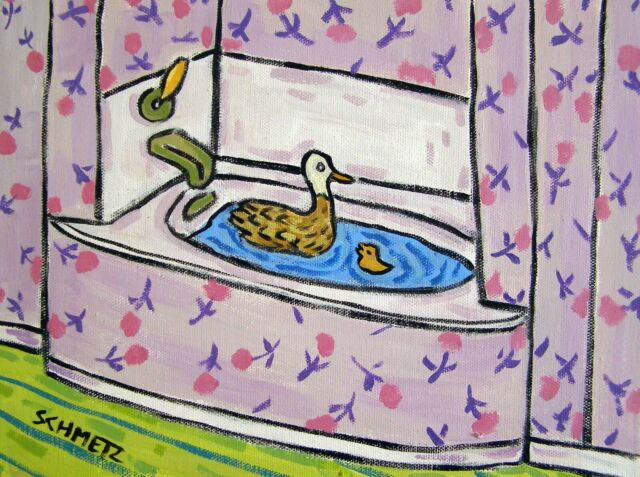 DUCK taking a bath painting bird art 4x6 GLOSSY PRINT | eBay