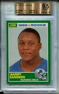 1989 Score Football #257 Barry Sanders Rookie Card RC Graded BGS Gem Mint 9.5